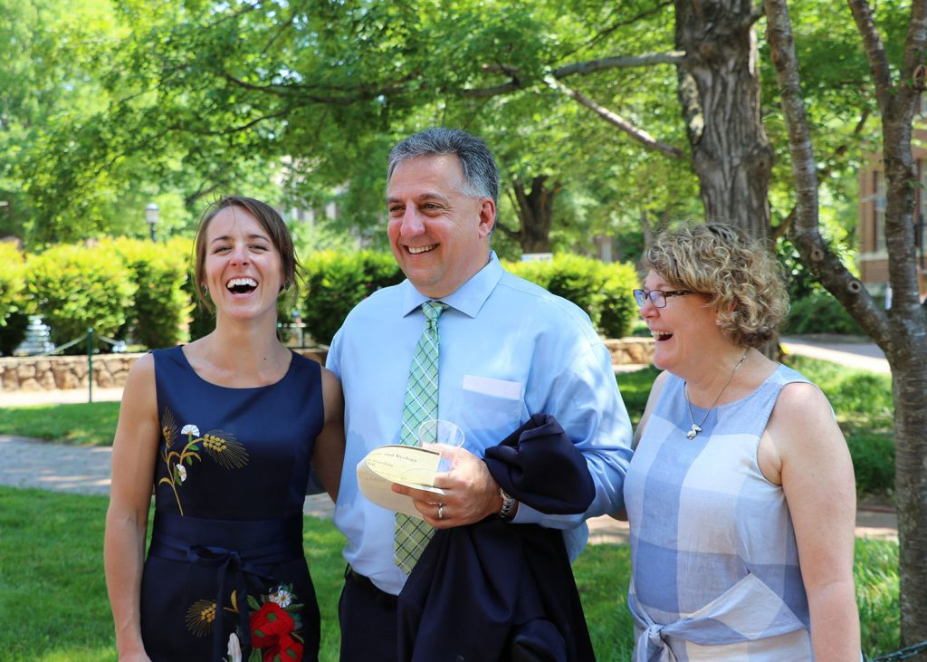 Photo of Liza Schillo, Greg Gangi and Jaye Cable at the May 2018 graduation ceremony for the curriculum for environment and ecology