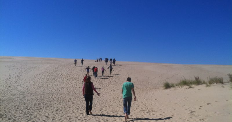 Photo of E3P students walking across the sand at the Outer Banks Field Site.